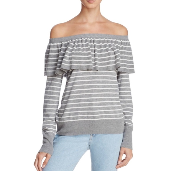 6b55a941919 JOIE Adinam Off the Shoulder Striped Sweater